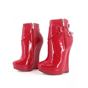 Red Sexy Boots Women Platform Pointed Toe Buckle Detail Zip Up Booties Stripper Shoes Cost #12420857336