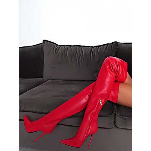 Red Thigh High Boots Pointed Toe High Heel Over The Knee Boots Women Sexy Boots on sale near me #12420845640
