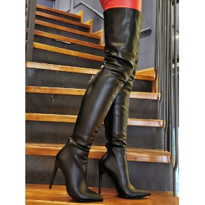 Sexy High Heel Boots Plus Size Pointed Toe Slip-On Stiletto Heel Black Thigh High Over The Knee Boots Designer #12420937408