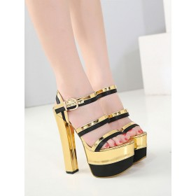 Sexy Sandals For Woman Blond PU Leather Square Toe Chunky Heel Ankle High Heels #12400945042