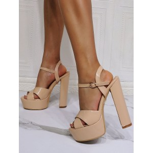 Sexy Sandals For Woman Nude Patent PU Upper Open Toe Chunky Heel Sky High Heel Sandals Cut Off #12400955070