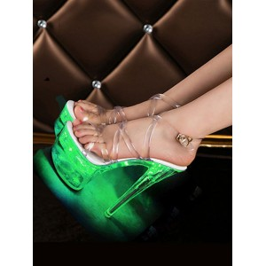Sexy Sandals For Woman Ombre PVC Upper Open Toe Cone Heel Sky High Heel Ankle Strap Heels Stripper Shoes #12400956356