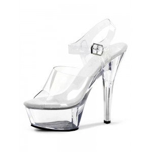 Sexy Sandals For Woman White Leather Peep Toe Monk Strap Sexy Shoes Stripper Shoes online shopping #12400903332