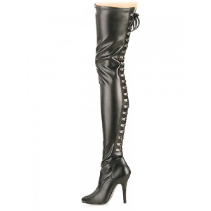 Women Sexy Boots Pointed Toe Zipper Sequins Stiletto Heel Rave Club Black Thigh High Boots Stripper Shoes #12420904358