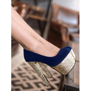 Women Sexy High Heels Blue Round Toe Sexy Shoes #12390911732