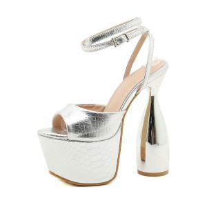 Women Sexy Sandals Silver PU Leather Peep Toe Ankle Strap Heels Stripper Shoes Casual #12400959894