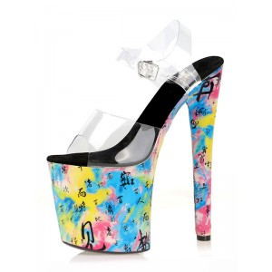 Women's Clear Floral Platform Exotic High Heel Sandals in Black Latest Fashion #12400960222