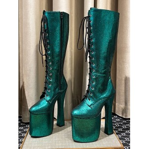 Women's Knee-High Boots Blue Green Leather Round Toe Snake Print Chunky Heel Stripper Shoes shop online #10710924624