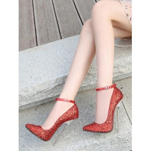 Womens Red High Heels Pointed Toe Stiletto Heel Sequined Cloth Sexy Ankle Strap Heels Stripper Shoes Clearance Sale #12390938324