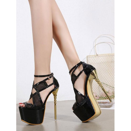 Womens Sexy Sandals Black PU Leather Open Toe Stiletto Heel Sexy High Heel Sandals Stripper Shoes outfits #12400936382
