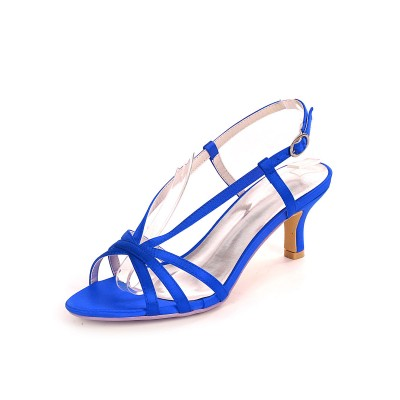 Blue Wedding Shoes Satin Open Toe Kitten Heel Bridal Shoes Mother Of The Bride Shoes Hot Sale #05790912898