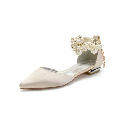 Champagne Wedding Shoes Satin Pointed Toe Pearls Flat Bridal Shoes business casual #05790913480