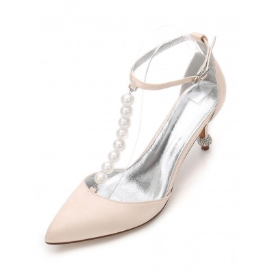 Champagne Wedding Shoes Women's Pointed Toe Pearls Ankle Strap Bridesmaid Shoes #05790726644