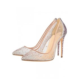 Clear Prom Heels Sparkly Wedding Pumps Pointed Toe Crystal High Heels Cheap #32860822878