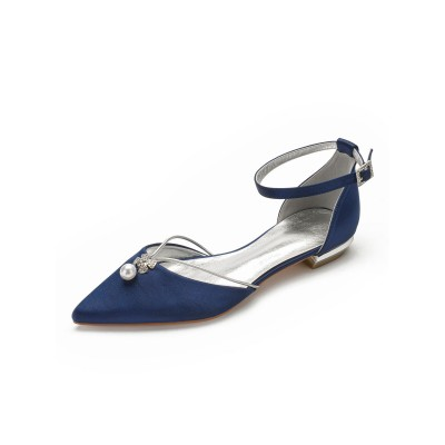 Flat Wedding Shoes Women's Two-part Satin Pointed Toe Bridal Shoes With Pearls Lowest Price #05790899482