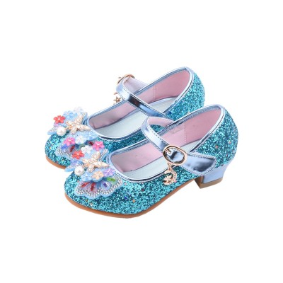 Flower Girl Shoes Blue Sequined Cloth Upper Party Shoes Kids Pageant Shoes #08380928698
