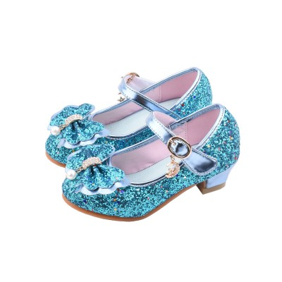 Flower Girl Shoes Blue Sequined Cloth Upper Party Shoes Kids Pageant Shoes spring 2021 #08380928710