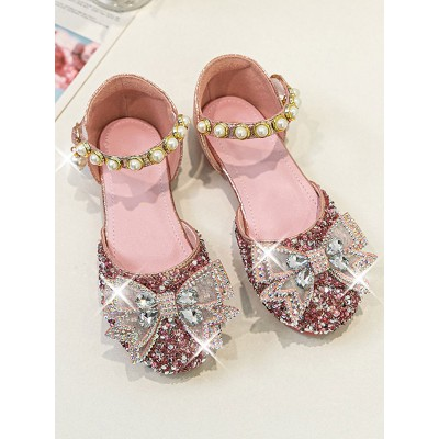 Flower Girl Shoes Pink PU Leather Rhinestones Party Shoes For Kids Casual #08380957448