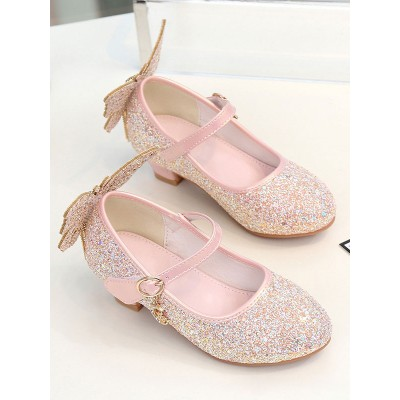 Flower Girl Shoes Pink PU Leather Rhinestones Party Shoes For Kids Fashion #08380957412