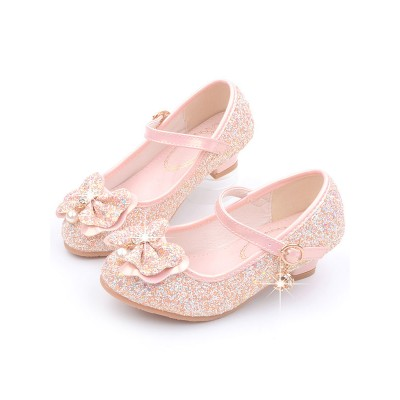 Flower Girl Shoes Pink Sequined Cloth Bows Mary Jane Party Shoes For Kids online shopping #08380870750