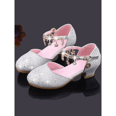 Flower Girl Shoes Pink Sequined Cloth Chains Party Kids Shoes For Wedding #08380870782