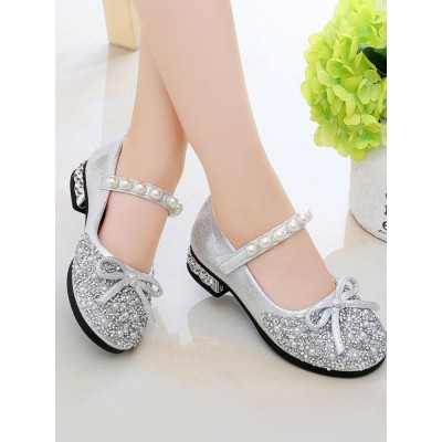Flower Girl Shoes Silver PU Leather Rhinestones Party Shoes For Kids Clearance Sale #08380957408