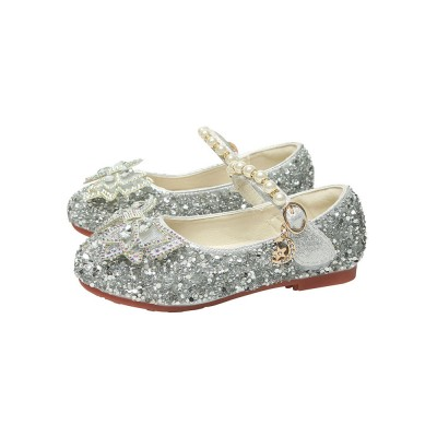 Flower Girl Shoes Silver PU Leather Rhinestones Party Shoes For Kids lifestyle #08380957450