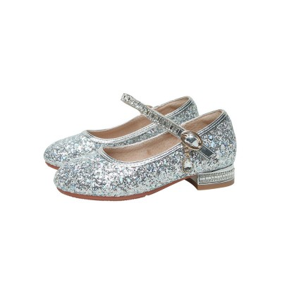 Flower Girl Shoes Silver PU Leather Sequins Party Shoes For Kids #08380957482