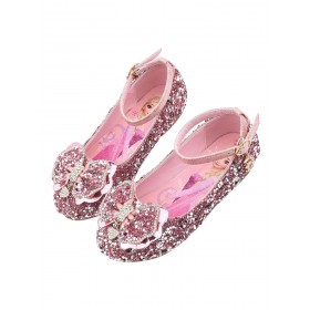 Flower Girl Shoes Silver Sequined Cloth Bows Party Kids Shoes For Wedding Fashion #08380870768