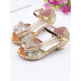 Flower Girl Shoes Silver Sequined Cloth Bows Party Princess Shoes For Kids sale next #08380870778