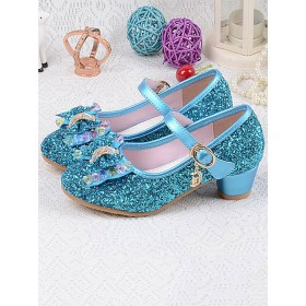 Flower Girl Shoes Silver Sequined Cloth Bows Party Shoes For Kids #08380870774