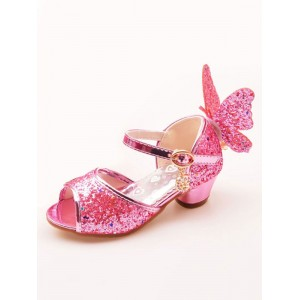 Glitter Party Shoes Pink Peep Toe Butterfly Detail Flower Girl Shoes outlet #08380856990