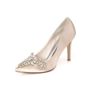 Wedding Guest Shoes Satin Pointed Toe Rhinestones Party Shoes Bridal Shoes #05790912788