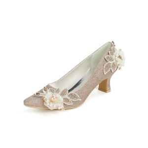 Wedding Shoes Champagne Sequined Cloth Flowers Square Toe Puppy Heel Bridal Shoes shop online #05790955824