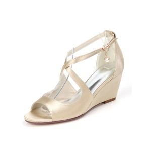 Wedding Shoes Satin Champagne Open Toe Pearls Wedge Heel Bridal Shoes In Sale #05790955834