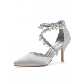 Wedding Shoes Silver Satin Pearls Pointed Toe Stiletto Heel Bridal Shoes #05790905232