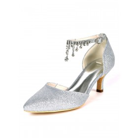 Wedding Shoes Silver Sequined Cloth Rhinestones Pointed Toe Kitten Heel Bridal Shoes Ankle Strap Heels business casual #05790957242