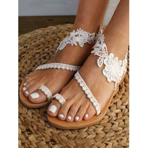 White Wedding Shoes PU Leather Open Toe Embroidered Flat Summer Lace Up Sandals #05790938794