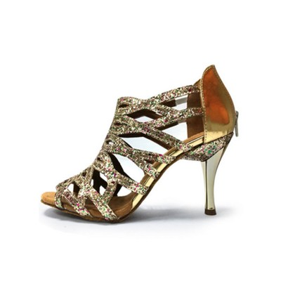 Glitter Ballroom Shoes 2021 High Heel Silver Peep Toe Cut Out 1920s Great Gatsby Dance Shoes Fitted #17020679342