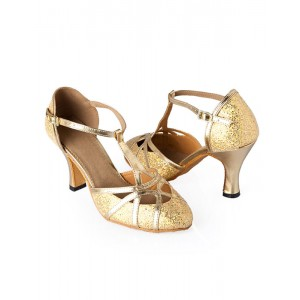 Sequins Ballroom Shoes Gold Pointed Toe T Type 1920s Flapper Shoes Latin Dance Shoes #17020189314