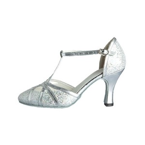 Silver Ballroom Shoes Glitter Professional Latin Dancing Shoes Pointed Toe T Type 1920s Flapper Shoes Latest Fashion #17020213580