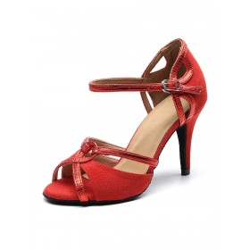 Women's Customized Latin Dance Shoes Suede Upper Red Peep Toe Ballroom Dance Shoes #17020875236