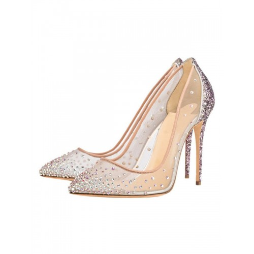 Clear Prom Heels Sparkly Wedding Pumps Pointed Toe Crystal High Heels Cut Off #32860822878