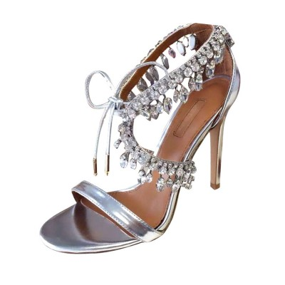 Evening Dress Shoes High Heel Sandals Silver Rhinestones Lace Up Stiletto Prom Shoes good quality #32840699900