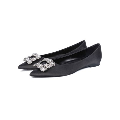 Evening Shoes Black Satin Pointed Toe Metal Details Rhinestone Evening Flats Party Shoes Designer #32900918010