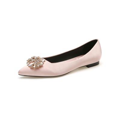 Evening Shoes Light Apricot Satin Pointed Toe Chuncky Heel Metal Details Evening Flats Party Shoes Hot #32900918008