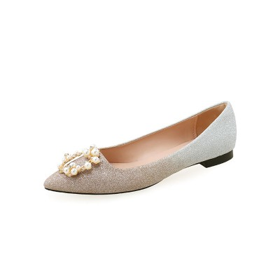 Evening Shoes Pointed Toe Pearls Glitter Evening Flats Near Me #32900871780