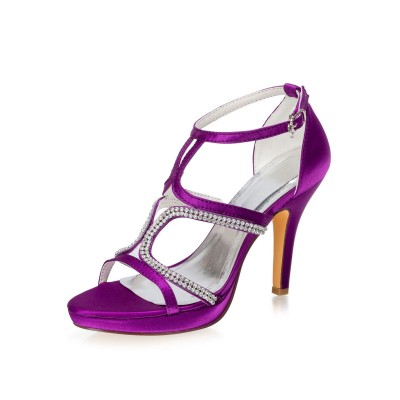 Evening Shoes Sandals Satin Women Party Shoes With Rhinestones Fitted #32840898448