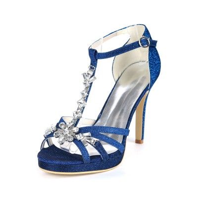 Glitter Platform Wedding Shoes T-bar Crystal High Heel Strappy Sandals for Party for sale near me #32840882184