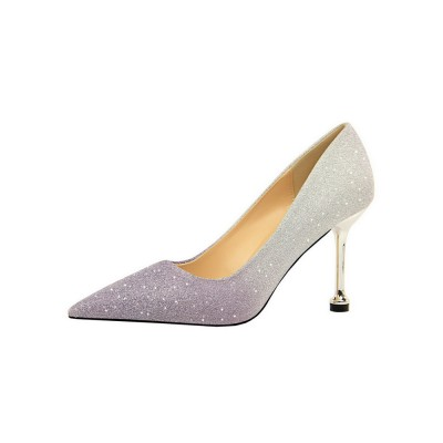Glitter Prom Heels Pointed Toe Stiletto Heel Pumps Party Shoes #32860833834